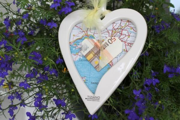 Geldgeschenk Herzanhänger Vienna Blumen