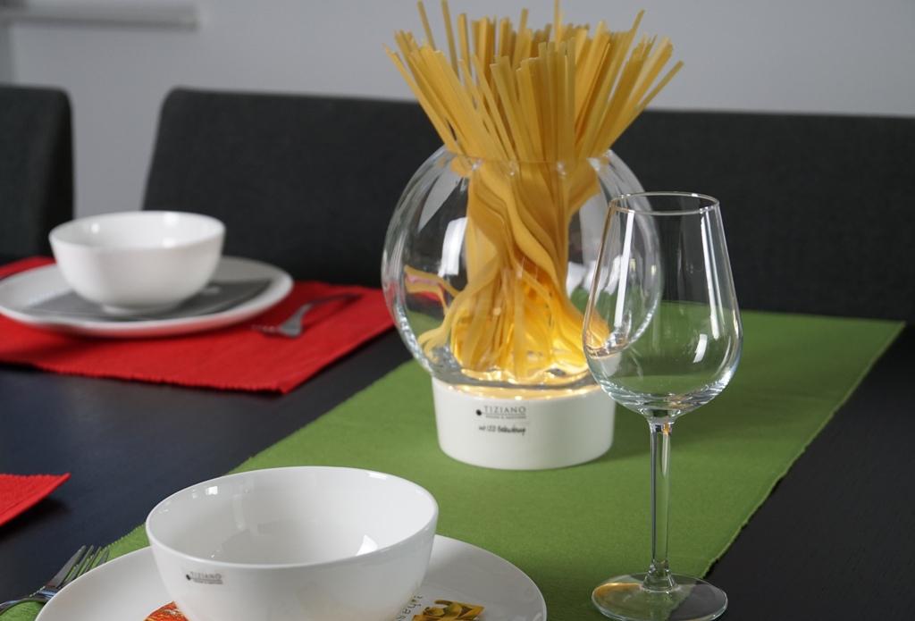 Italienische Tischdeko_Windlicht Castello LED mit Nudeln