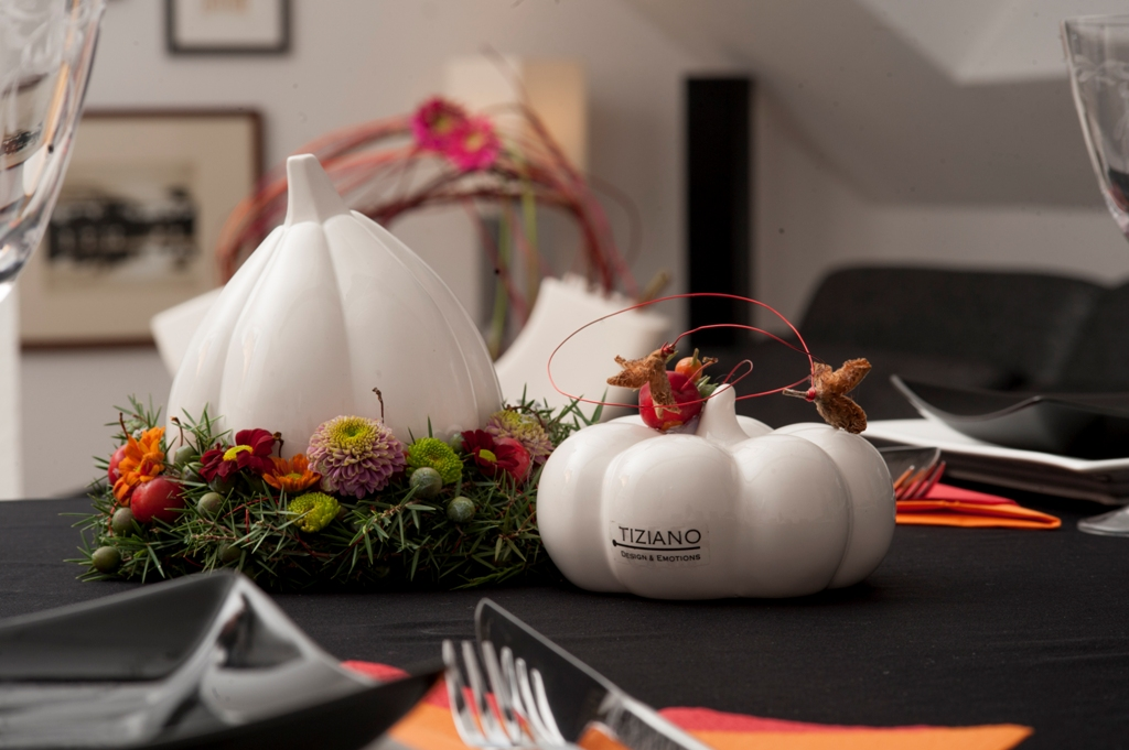 Herbst Tischdeko willkommen herbst tischdeko mit kürbissen tiziano