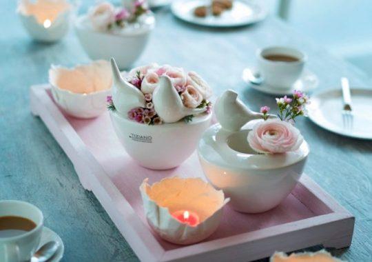 Dekoidee Frühlingshafte Tischdeko zum Kaffeetrinken