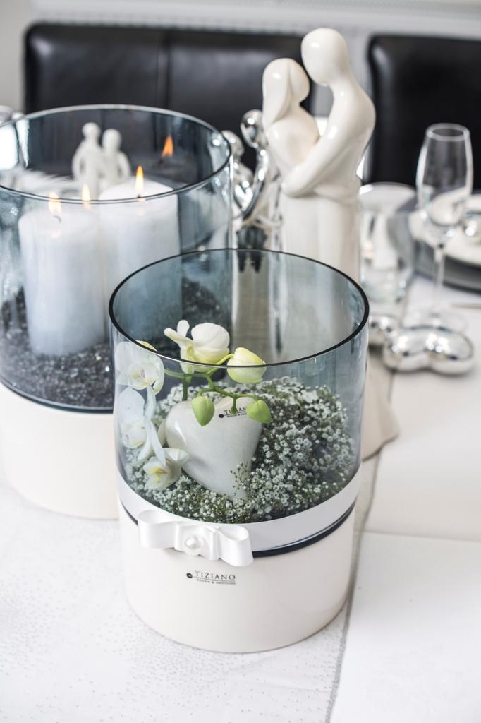 Romantische Tischdeko mit Windlichtern