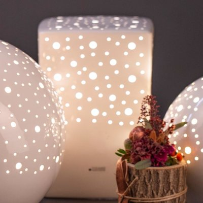 Lampe Padova Rechteck 30cm weiß creme