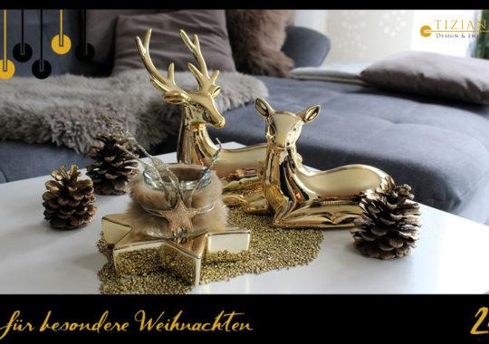 Winterdeko in Gold
