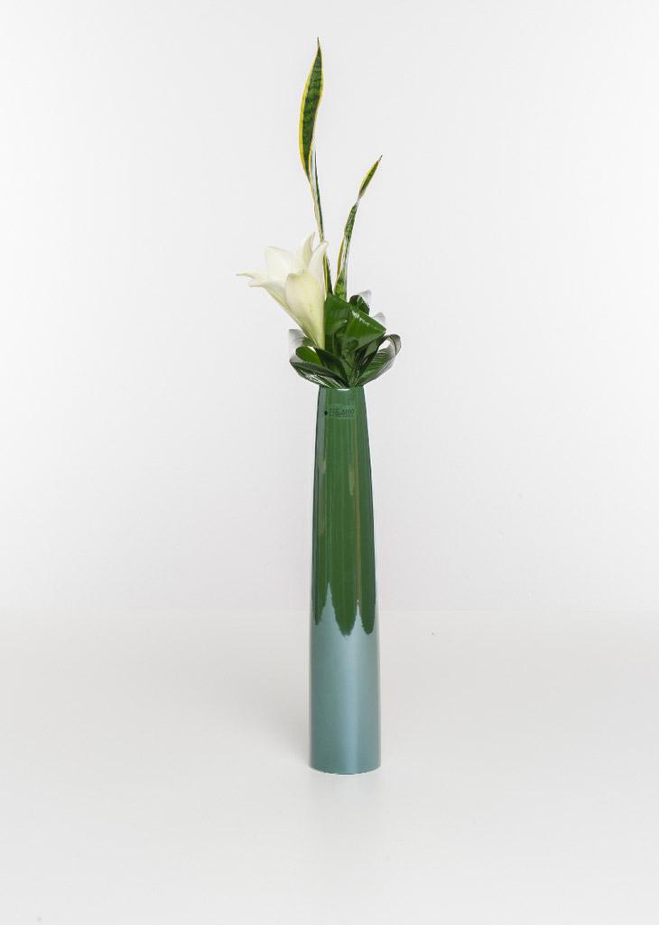 Limena Vase dunkelgrün metallic