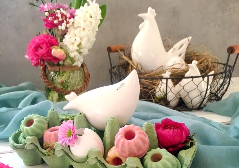 Tischdeko zu Ostern mit Eierkartons
