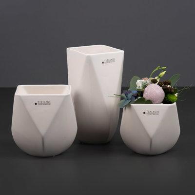 Barrera Kübel und Vase in creme