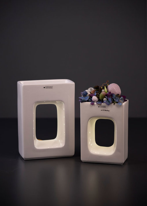 Quadro Pflanzgefäß LED hoch Variationen