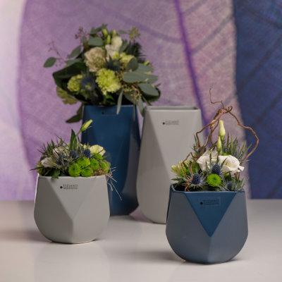 Barrera Kübel Vasen grau blau