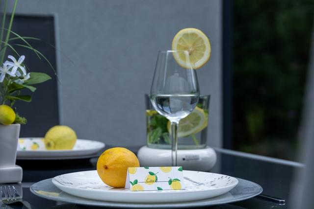Tischkärtchen mit Zitronenprint als Sommerdeko