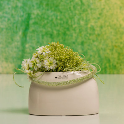 Caruso Vase dekoriert breit creme