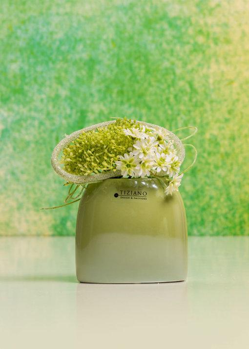 Caruso Vase dekoriert hoch hellgrün