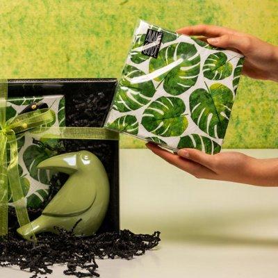 Vincenz Tukan grün Geschenkbox Servietten