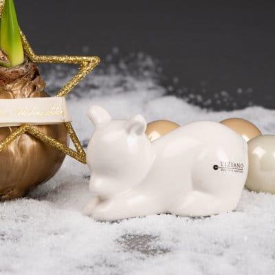 Deko Eisbär Bitonto liegend weiß creme