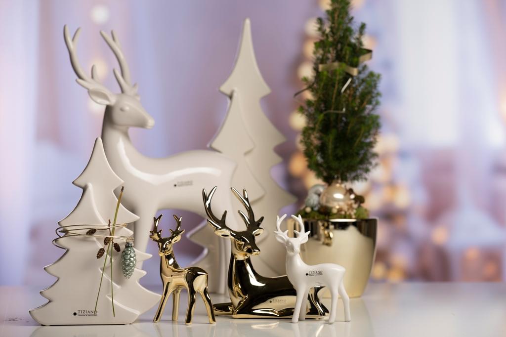 Hirsch Deko zu Weihnachten_Gold und Creme