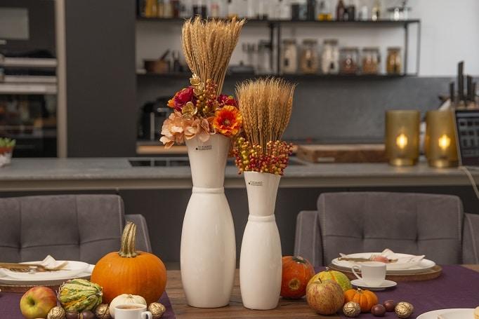 Tischdeko Erntedank Herbstdeko Vasen Trockenblumen