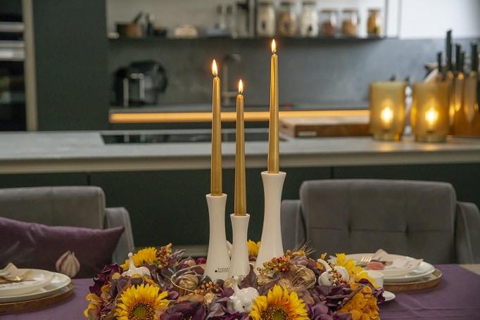 Tischdeko Herbstdeko Erntedank mit Leuchter Tapino
