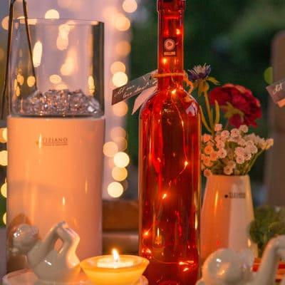 Flasche Flaskan rot inkl LED