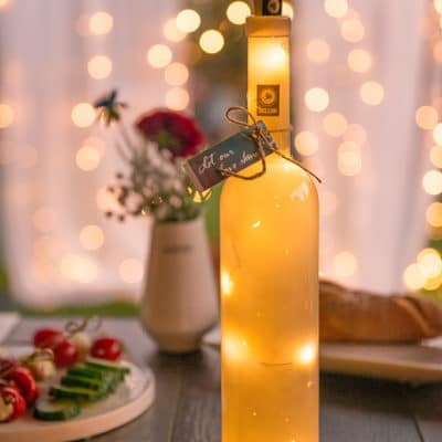 Flasche Flaskan solid grau inkl LED