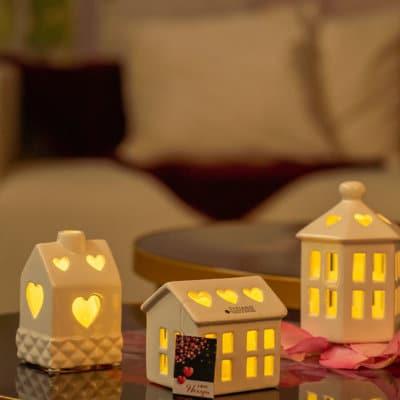 Haus Pavillon Madalin LED 8,5 hoch weiß-creme