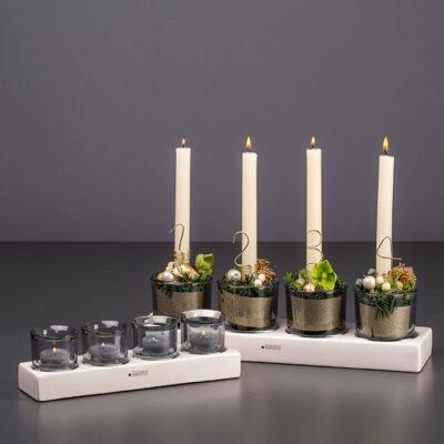 Tischlicht Mantova 4er weiß creme Rauchglas