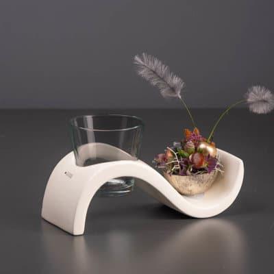Deko Tischlicht Mondial weiß creme mit Rauchglas
