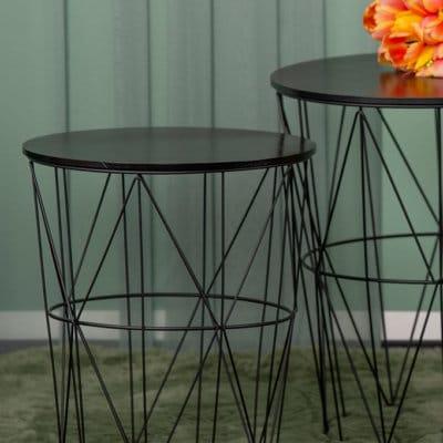 Beistelltisch Korb Tisch Chicago schwarz Metall