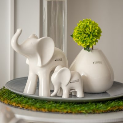 Dekoteller Glas mit Dekofigur Deko Elefant Leon mit Baby und Castello