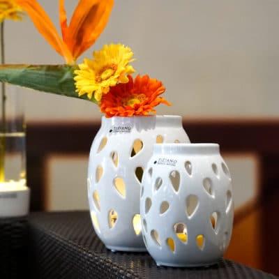 Teelichthalter Alvara weiß-creme