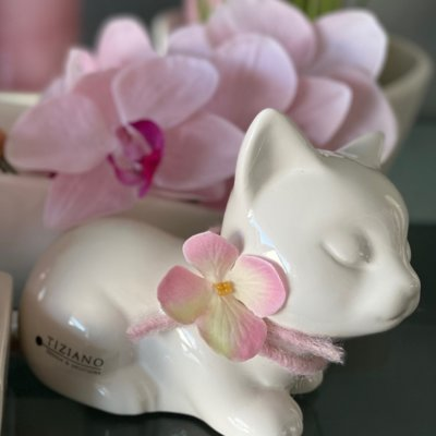 Dekofigur Katze Sadira Kopf hoch dekoriert rosa