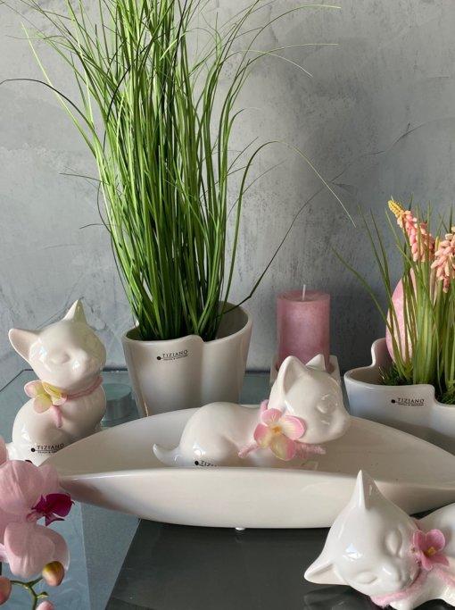 Dekofigur Katze Sadira dekoriert rosa 3er Set