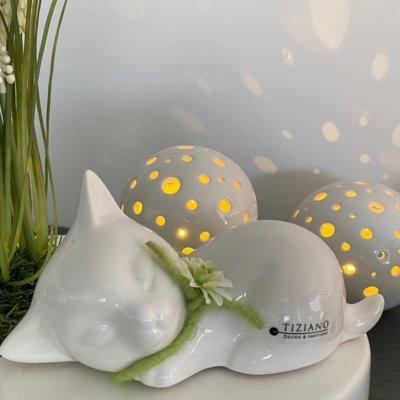 Dekofigur Katze Sadira liegend dekoriert gruen