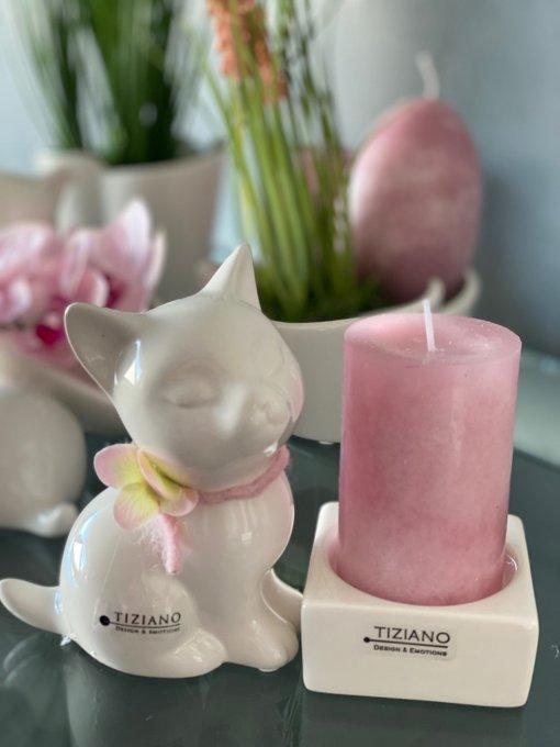 Dekofigur Katze Sadira sitzend dekoriert rosa