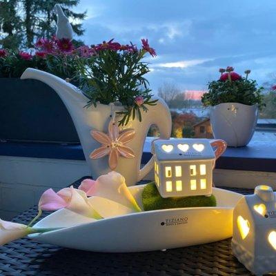 Dekoset Schale Mavina mit Haeusern Madalin LED dekoriert