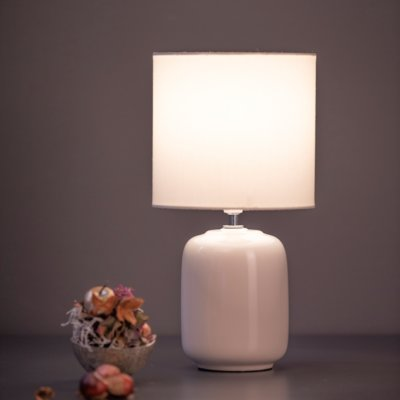 Lampe Catalina creme weiss oval