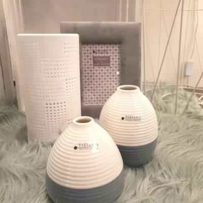 Vase Meleto creme-weiss dunkelgrau zwei Versionen