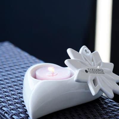 Teelichthalter Belvina mit Hänger Floralia mit Kristall