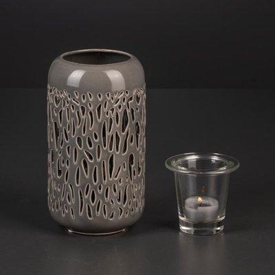 Windlicht Vase Savanah mit Teelichthalter grau
