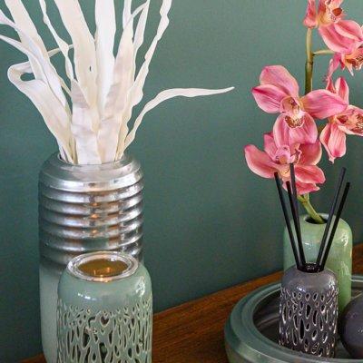Windlicht Vase Savanah mit Teelichthalter mint