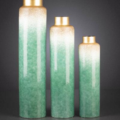 Vase Majesty hoch grün/gold