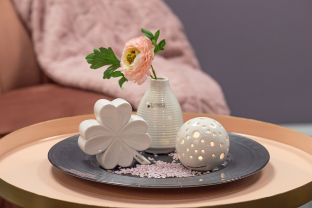 Dekoset Lichtkugel Padova LED mit Vase Meleto und Kleeblatt