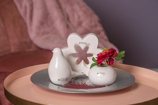 Dekoset mit Blume Gradella Vogel Alfredo und Vase Vitara