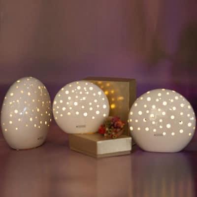 Licht Mendini LED oval klein weiß-creme