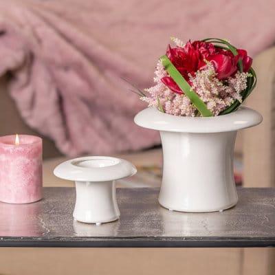 Blumentopf Zylinder Cilindro creme-weiß