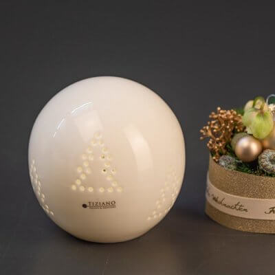 Lichtkugel Dazio LED mit Baummuster creme-weiß