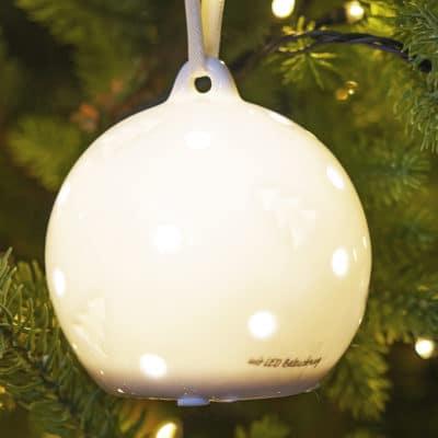 Hänger Frano LED mit Bäumen 9cm Porzellan creme-weiß
