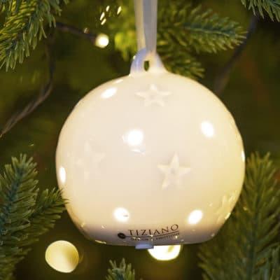 Hänger Frano LED mit Sternen 9cm Porzellan creme-weiß