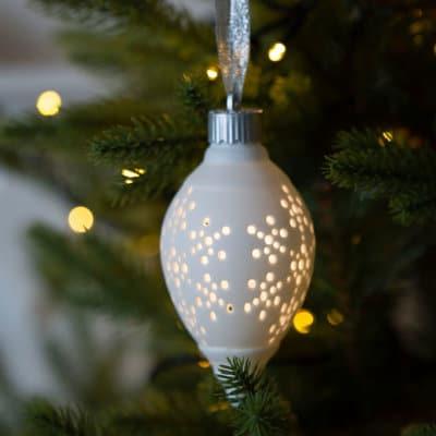 Dekohänger Morella LED 13 oval Flocke weiß creme