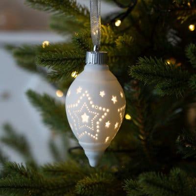 Dekohänger Morella LED 13 oval Stern weiß creme