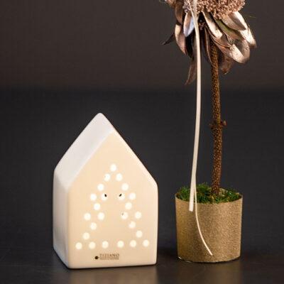 Haus Tavola LED mit Baummuster Porzellan creme-weiß