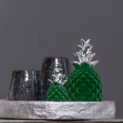 Deko Ananas Zoella grün - silber velvet
